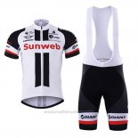 2017 Maillot Cyclisme Sunweb Blanc Manches Courtes et Cuissard