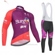 2019 Maillot Cyclisme Burgos BH Violet Rouge Manches Longues et Cuissard