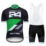 2019 Maillot Cyclisme Herbalifr 24 Noir Vert Manches Courtes et Cuissard