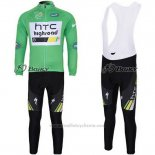 2011 Maillot Cyclisme HTC Highroad Vert et Blanc Manches Longues et Cuissard