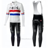 2019 Maillot Cyclisme Ineos Champion UK Blanc Manches Longues et Cuissard