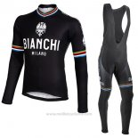2017 Maillot Cyclisme Bianchi Milano Ml Noir Manches Longues et Cuissard