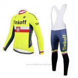 2017 Maillot Cyclisme Tinkoff Jaune Manches Longues et Cuissard