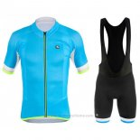 2017 Maillot Cyclisme Giordana Silver Line Azur Manches Courtes et Cuissard