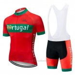 2019 Maillot Cyclisme Portugal Vert Rouge Manches Courtes et Cuissard