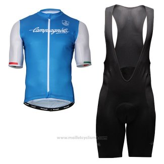 Maillot Cyclisme Campagnolo Iridio Bleu Blanc Manches Courtes et Cuissard