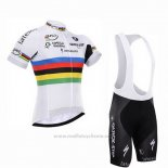 2016 Maillot Cyclisme UCI Monde Champion Lider Quick Step Blanc Manches Courtes et Cuissard