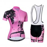 2019 Maillot Cyclisme Femme Weimostar Rose Manches Courtes et Cuissard