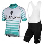 2017 Maillot Cyclisme Bianchi Milano Albatros Blanc Manches Courtes et Cuissard