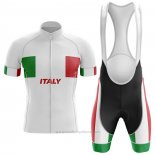 2020 Maillot Cyclisme Italie Blanc Manches Courtes et Cuissard