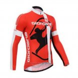 2014 Maillot Cyclisme Giordana Rouge et Blanc Manches Longues et Cuissard