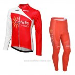 2013 Maillot Cyclisme Cofidis Rouge Manches Longues et Cuissard