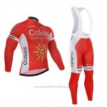 2015 Maillot Cyclisme Cofidis Rouge Manches Longues et Cuissard