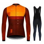 2020 Maillot Cyclisme NDLSS Marron Jaune Manches Longues et Cuissard