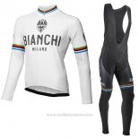 2017 Maillot Cyclisme Bianchi Milano Ml Blanc Manches Longues et Cuissard