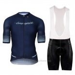 2018 Maillot Cyclisme Campagnolo Platino Fonce Bleu Manches Courtes et Cuissard