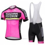 2018 Maillot Cyclisme Manzana Postobon Rose Manches Courtes et Cuissard