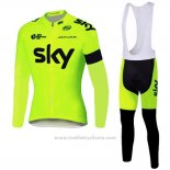 2016 Maillot Cyclisme Sky Vert Manches Longues et Cuissard