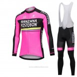 2018 Maillot Cyclisme Manzana Postobon Rose Manches Longues et Cuissard