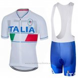 2018 Maillot Cyclisme Italie Blanc Manches Courtes et Cuissard
