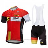 2018 Maillot Cyclisme Vital Concept Rouge Blanc Manches Courtes Cuissard