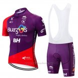 2019 Maillot Cyclisme Burgos BH Violet Rouge Manches Courtes et Cuissard