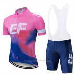 2019 Maillot Cyclisme EF Education First Rose Bleu Manches Courtes et Cuissard