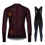 2020 Maillot Cyclisme NDLSS Marron Rouge Manches Longues et Cuissard