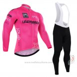 2016 Maillot Cyclisme Giro d'Italia Rose et Blanc Manches Longues et Cuissard