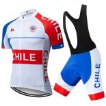2019 Maillot Cyclisme Chili Blanc Rouge Manches Courtes et Cuissard