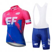 2019 Maillot Cyclisme EF Education First Bleu Rose Manches Courtes et Cuissard
