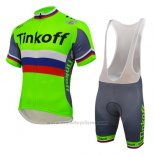 2016 Maillot Cyclisme UCI Monde Champion Tinkoff Vert Manches Courtes et Cuissard