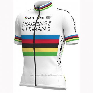 2019 Maillot Cyclisme UCI Monde Champion Androni Giocattoli Blanc Manches Courtes et Cuissard