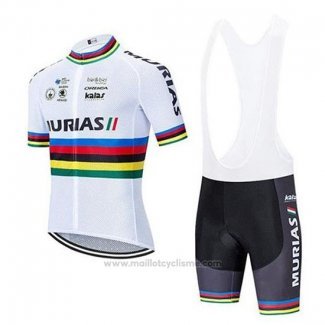 2020 Maillot Cyclisme UCI Mondo Champion Euskadi Murias Blanc Manches Courtes et Cuissard