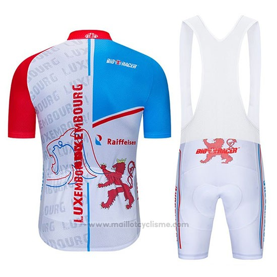 2020 Maillot Cyclisme Luxembourg Bleu Blanc Rouge Manches Courtes et Cuissard